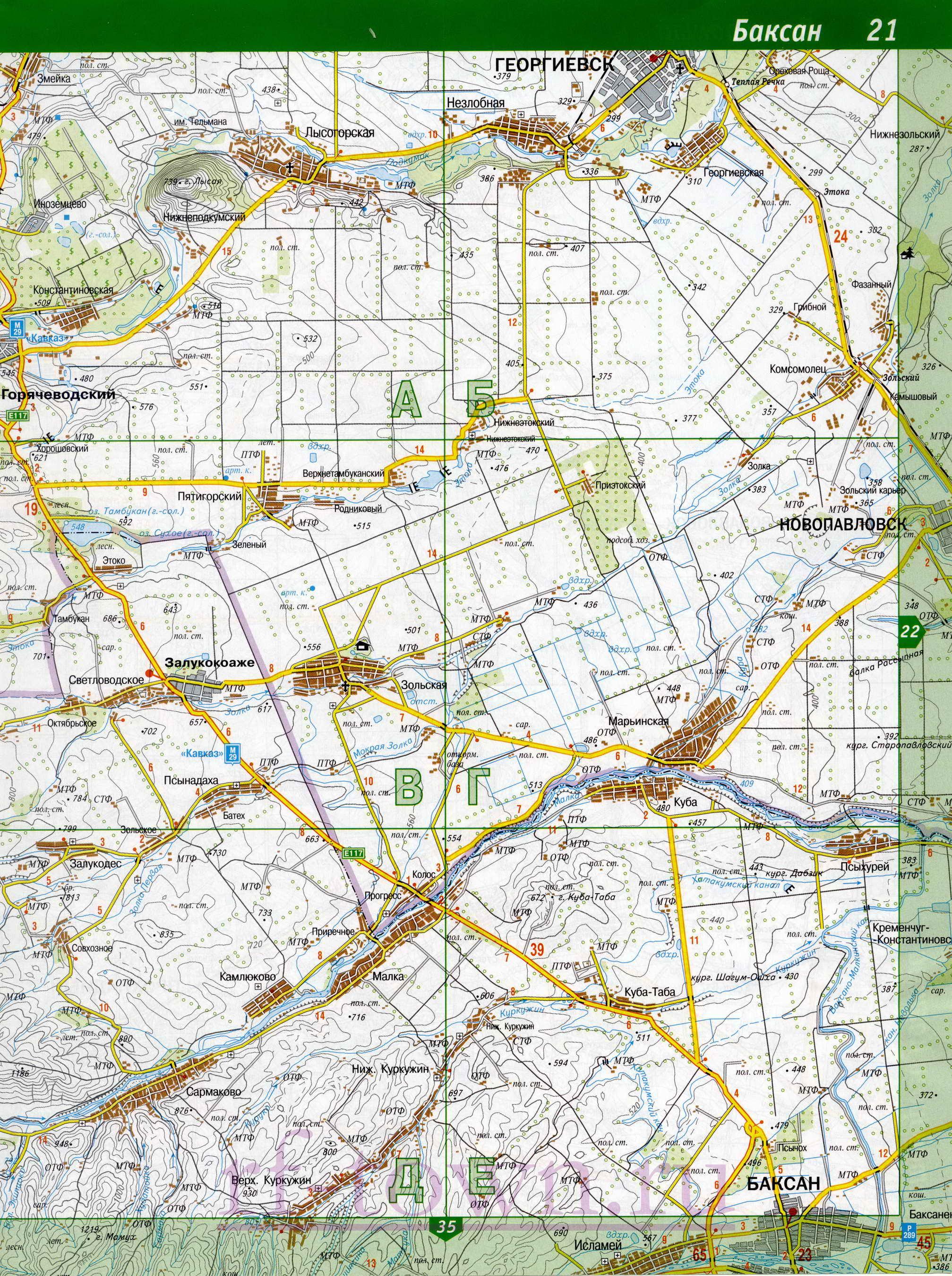 Подробная Карта Прохладненского Района