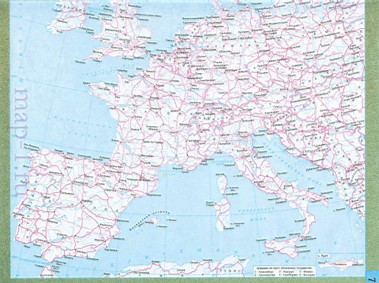 Карта дорог Западной Европы.
