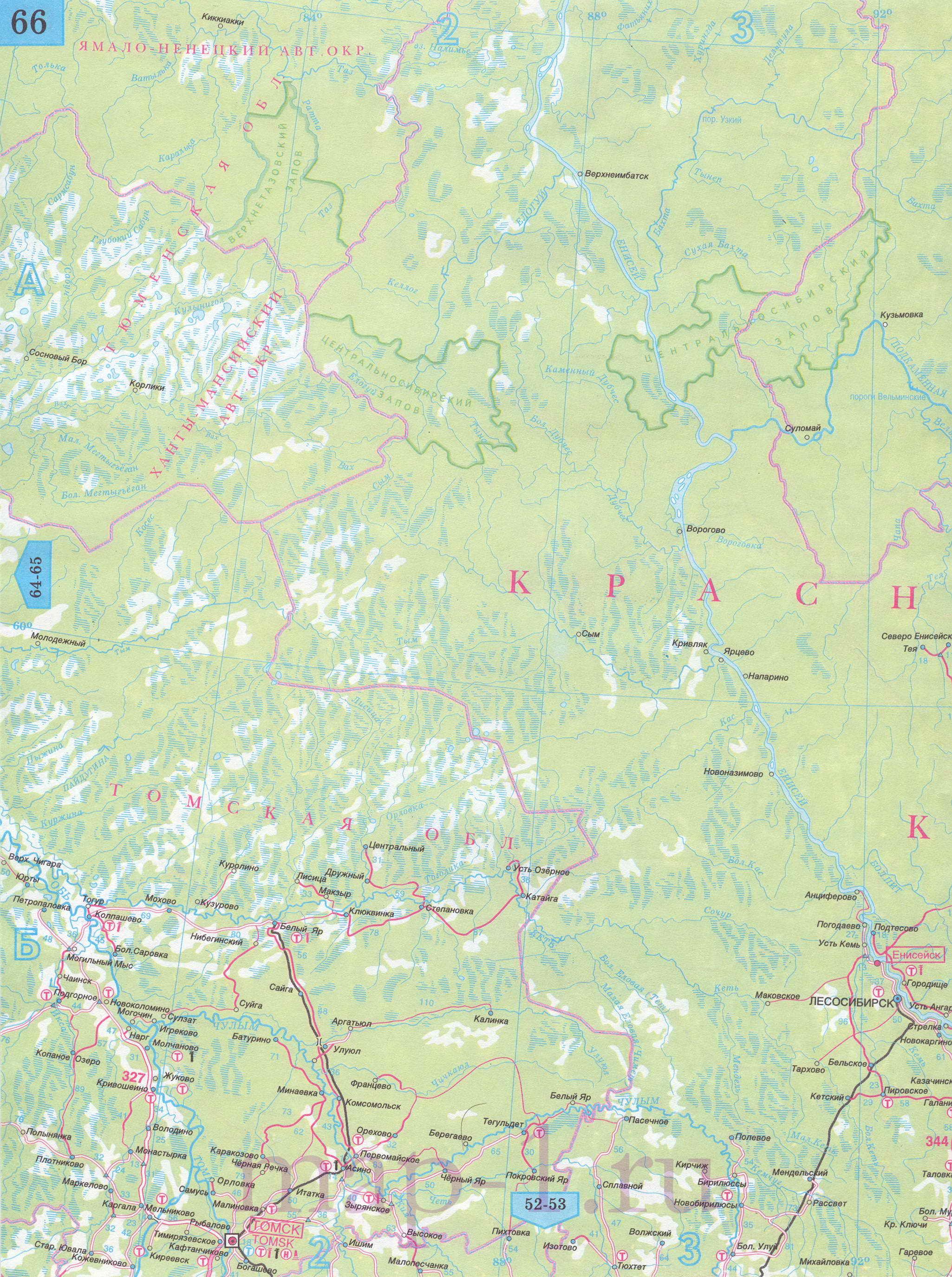 Карта Красноярского края автомобильная.  Подробная карта дорог - Красноярский край, масштаб 1см:30км.
