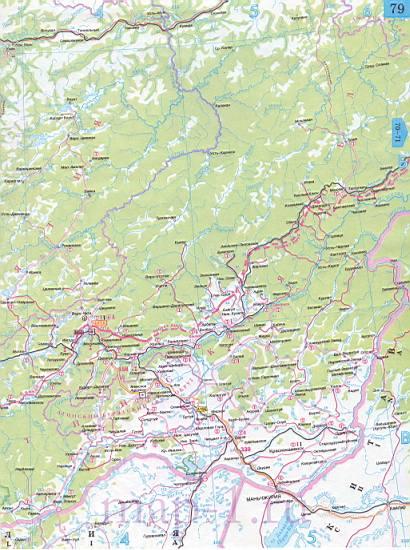 Карта Бурятии автомобильная