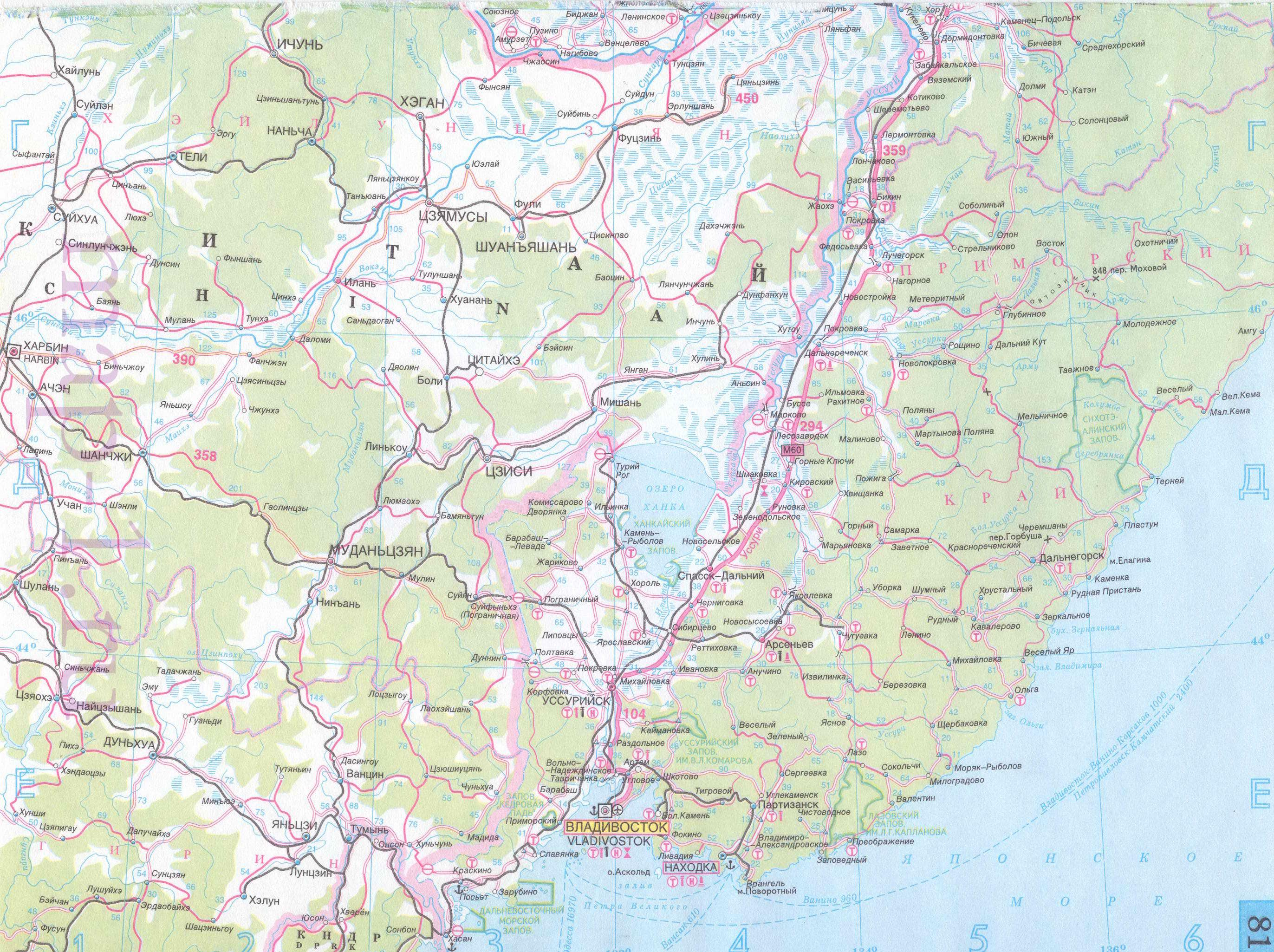 Карта приморского края автомобильная