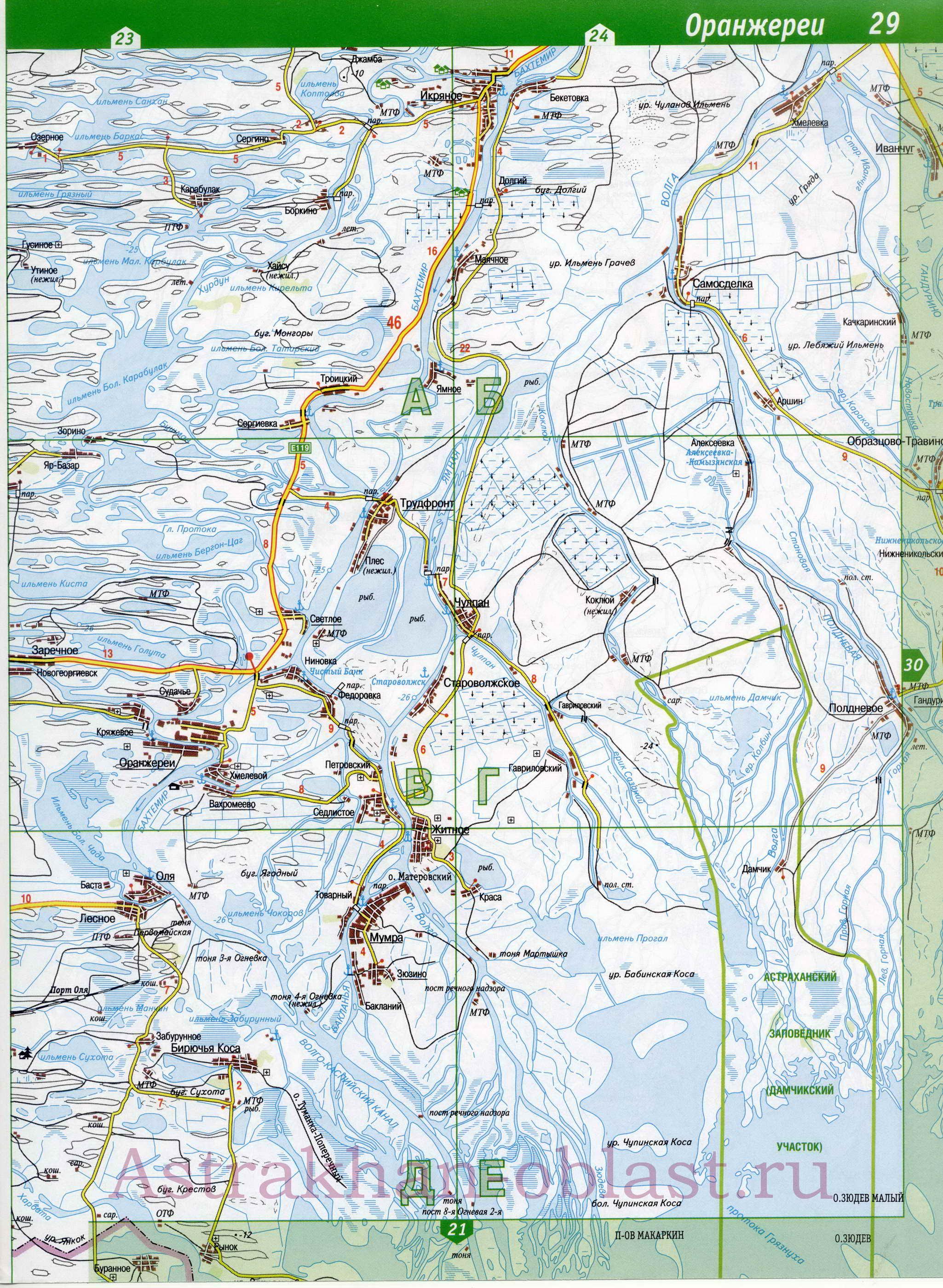 топографическая карта астраханской области подробная для рыбака