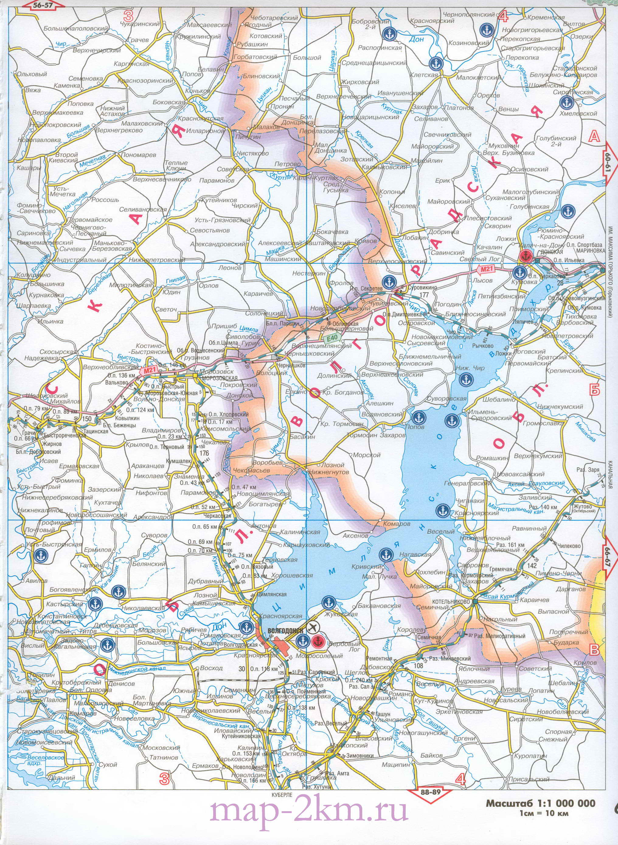 Подробная карта схема автомобильных и жд дорог Ростовской области 1см:10км.