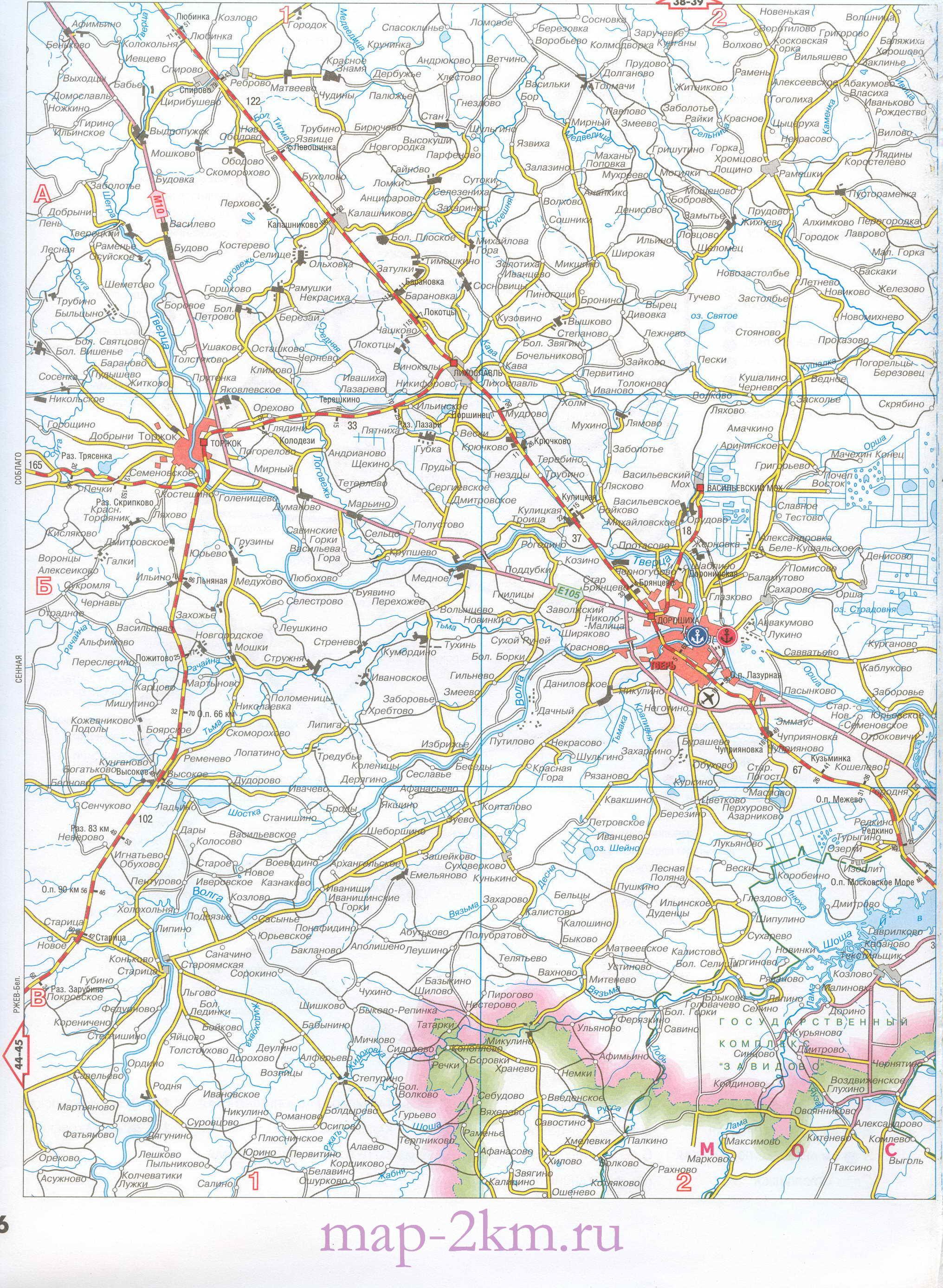 Подробная карта дорог Московской области.  Автомобильные дороги и жд станции Московской обл.